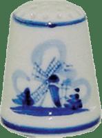 Delfts Blauw Vingerhoedje Molen Delft Blue Thimble Windmill