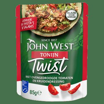 John West Tonijn Twist met Ovengedroogde Tomaten en Kruidendressing MSC 85g John West Tonijn Twist met Ovengedroogde Tomaten en Kruidendressing MSC