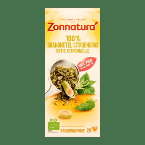 Zonnatura Bio 100% Brandnetel Citroengras Kruideninfusie 20 Zakjes