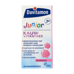 products davitamon junior 3 kauwvitamines framboos kauwtabletten