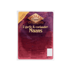 products patak s original 2 garlic coriander naans 2 x 140ggo tan knoflook 100g
