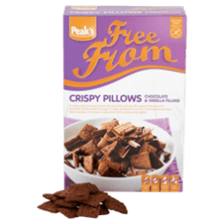 products peak s free from crispy pillows with chocolate vanilla filling