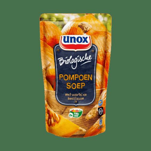products unox soep in zak biologische pompoensoep